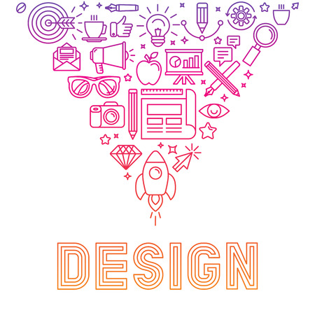 graphic illustration: Vector linear icons design concept - illustration with icons and signs related to graphic design and creative process