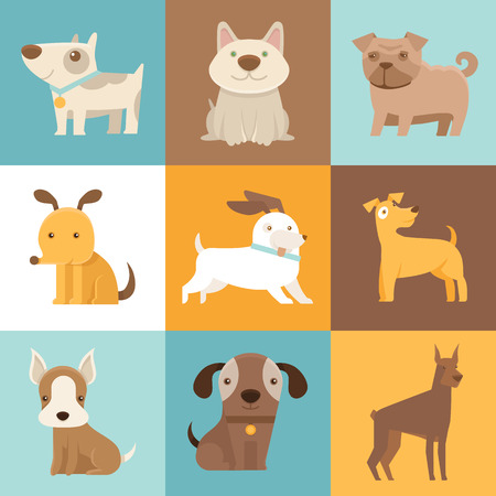 Vector set of cartoon illustrations in simple flat style - funny and friendly dogs and puppies