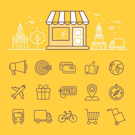 Ilustración del vector en estilo lineal moda - iconos y signos de compras en línea - edificio de la tienda con paisaje de la ciudad