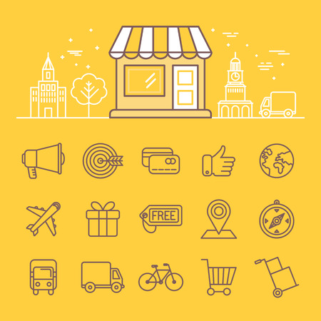 store window: Vector illustration in trendy linear style - online shopping icons and signs - store building with city landscape