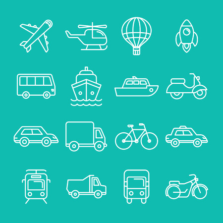 Vector transportation icons and signs in trendy mono line style - outline illustrations - different vehicles Illustration