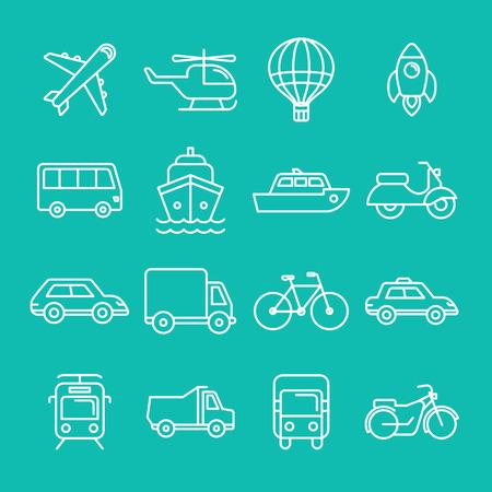transport: Vector vervoer pictogrammen en symbolen in trendy mono lijn stijl - outline illustraties - verschillende voertuigen
