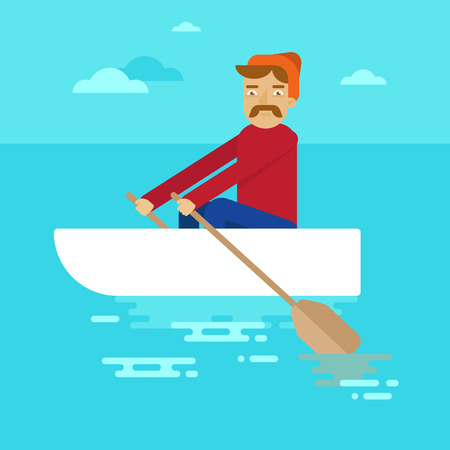 Vector flat male character - cartoon illustration - man in a boat