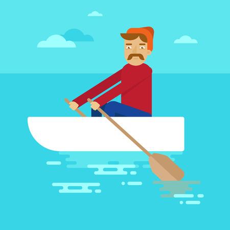 illustrazione uomo: Vector piatta personaggio maschile - fumetto illustrazione - uomo in una barca