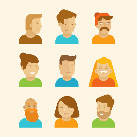 women and men: Vector set of avatars and portraits in flat style - men and women Illustration