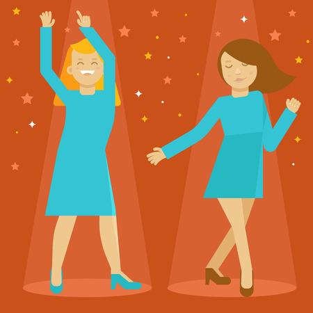 character illustration: Vector dancing girls - female cartoon character - illustration in flat style
