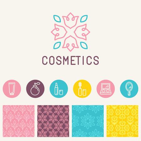 Vector cosmetica logo design element in lineaire stijl - pictogrammen en tekens en naadloze patronen voor het pakket en schoonheidssalons