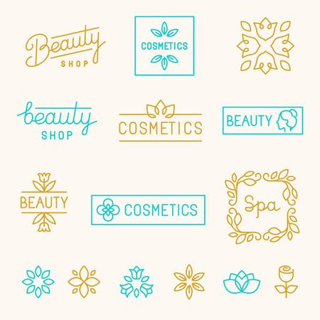 아름다움: 모노 라인 문자 - 미용 상점과 화장품 산업을위한 선형 디자인 요소와 로고의 벡터 세트