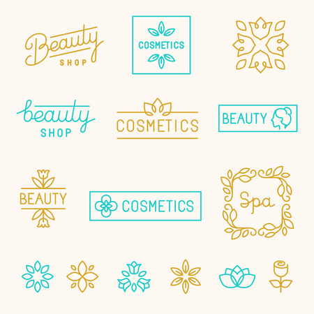 beleza: Jogo do vetor de elementos de design linear e logotipos para salões de beleza e indústria de cosméticos - lettering linha mono