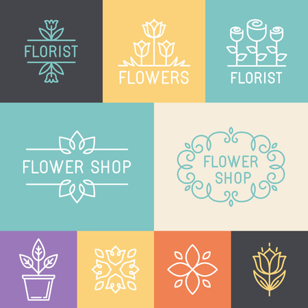 rose flowers: Vector floral and gardening logos and signs in trendy linear style - emblems for flower shop
