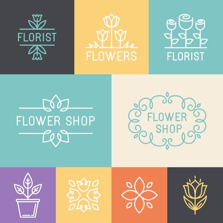 negozio: Vector floreali e giardinaggio loghi e segni in stile lineare di tendenza - emblemi per negozio di fiori Vettoriali