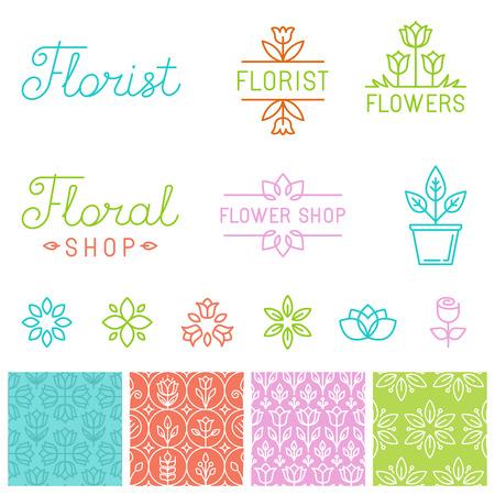 Vector floral logos et de la main-lettrage - icônes, des signes et des modèles sans couture pour les magasins de fleurs Illustration