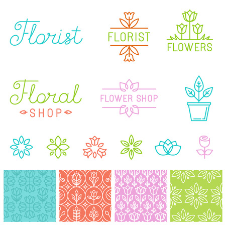 Vector floral logos and hand-lettering - icons, signs and seamless patterns for flower shops