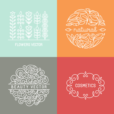 cosmeticos: Etiquetas de vector orgánicos y emblemas en el estilo lineal de moda - de línea mono elementos de diseño