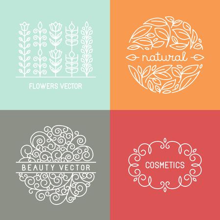 schönheit: Vector Bio-Labels und Embleme in trendy linearen Stil - Mono-Line-Design-Elemente