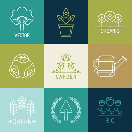 Vecteur jardinage logo des éléments de conception et les icônes de style à la mode linéaire - emblèmes organiques et naturels