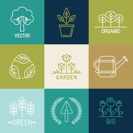 Vector tuinieren logo design elementen en pictogrammen in de trendy lineaire stijl - organische en natuurlijke emblemen