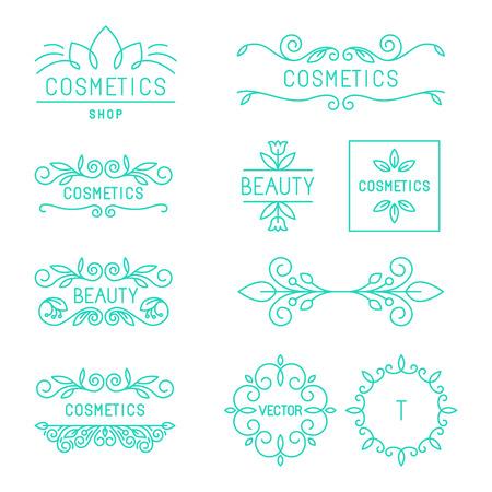 유행 선형 스타일에서 벡터 아름다움과 화장품 로고 및 라벨 - 유기 및 천연 배지 및 아이콘