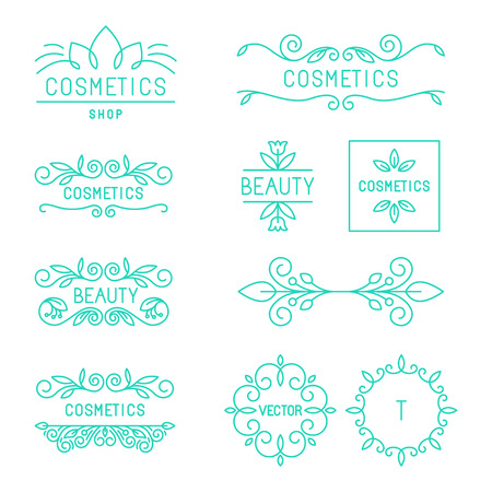 champú: Vector de belleza y cosmética logotipos y etiquetas de estilo lineal moda - insignias e iconos orgánicos y naturales