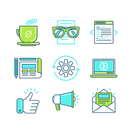 logo marketing: Vector set of linear icons in trendy style - tools and metaphors related to web design and developemtn work and digital marketing process - business concepts