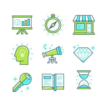 perspectiva lineal: Vector conjunto de iconos lineales en el estilo de moda - herramientas y met�foras relacionadas con el desarrollo de negocios, proceso de marketing y contenidos digitales - conceptos de negocio Vectores