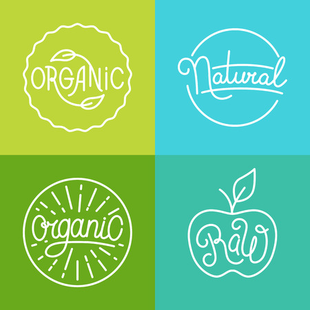 and organic: Vector labels in trendy mono line style - premium quality organic and natural badges for fresh farm products and food packaging - set of linear emblems and icons