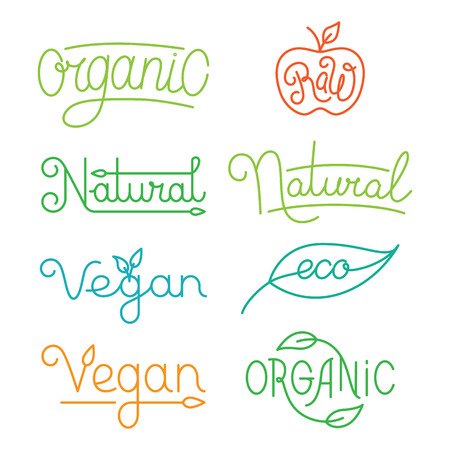 Vector labels and logos in trendy mono line style - premium quality organic and natural badges for fresh farm products and food packaging - set of linear emblems and icons