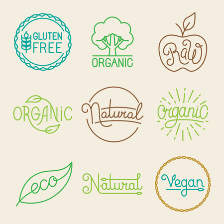 eco logo: Vector labels in trendy mono line style - premium quality organic and natural badges for fresh farm products and food packaging - set of linear emblems and icons