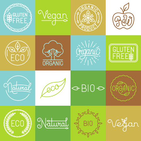 Vector labels in trendy mono line style - premium quality organic and natural badges for fresh farm products and food packaging - set of linear emblems and icons