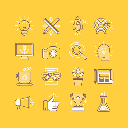 Vector set of linear icons in bright yellow colors - set of tools and metaphors related to graphic design work and marketing strategy and promotion - business concepts and signs Иллюстрация