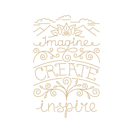 imagine: Vector hand lettering poster in linear style - imagine, create, inspire Illustration