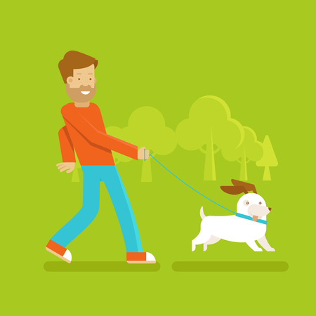 happy people faces: Vector male character in flat style - man walking his funny dog - illustration in simple trendy style Illustration