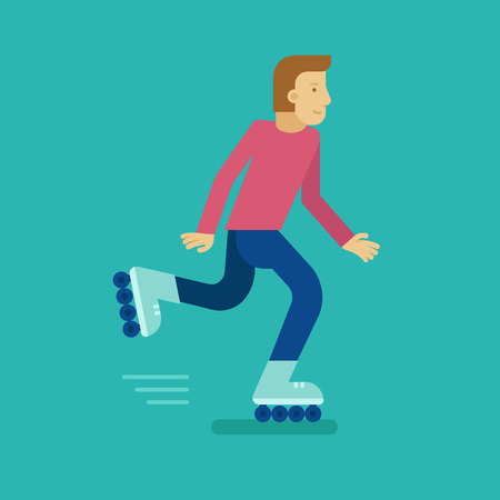 rollerblade: Vector male character in flat style - man roller skating - illustration in simple trendy style