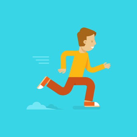 fast forward: Vector male character in flat style - fast running man illustration in simple trendy style Illustration