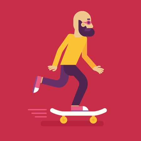 skateboarder: Vector male character in flat style - man riding skateboard - illustration in simple trendy style