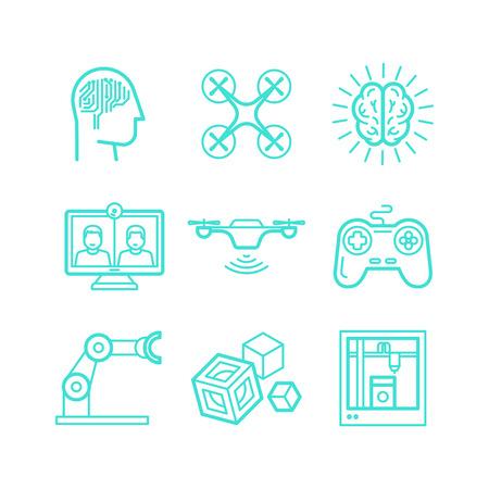 prototipo: Vector conjunto de iconos de estilo lineal de moda - la innovación y las nuevas tecnologías - la inteligencia artificial, dispositivos inteligentes y control remoto Vectores