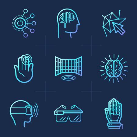 유행 선형 스타일 아이콘 벡터 세트 - 가상 및 증강 현실 개념 - 엔터테인먼트, 게임 및 연구를위한 혁신 기술 및 애플 리케이션