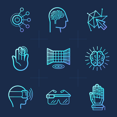 Vector set of icons in trendy linear style - virtual and augmented reality concepts - innovation technologies and apps for entertainment, gaming and study Çizim
