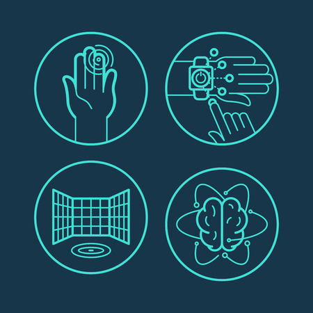 gestures: Vector concepts and icons in linear style - touchscreen interfaces and new technologies Illustration