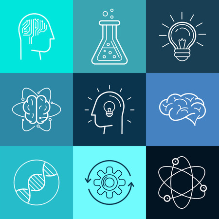 Vector icons and signs in trendy linear style - new technologies, analytical research and innovation concepts - abstract logo design elements Vettoriali
