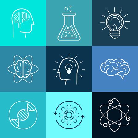 qu�mica: Vector iconos y signos en el estilo lineal de moda - nuevas tecnolog�as, los conceptos de investigaci�n e innovaci�n de an�lisis - logo abstracto elementos de dise�o