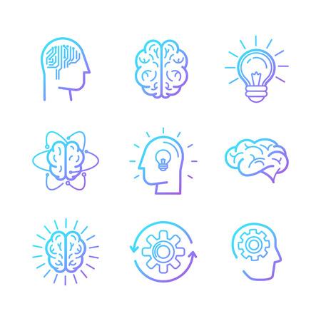 Lineair Vector pictogrammen en design elementen - slimme nieuwe technologieën en innovatie concepten - creatieve logo ontwerp elementen