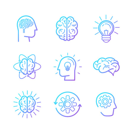 brains: Vector linear icons and design elements - smart new technologies and innovation concepts - creative logo design elements Illustration