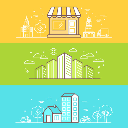 building block: Vector bright banners and illustrations with linear buildings icons - landscapes and scenes for website headers