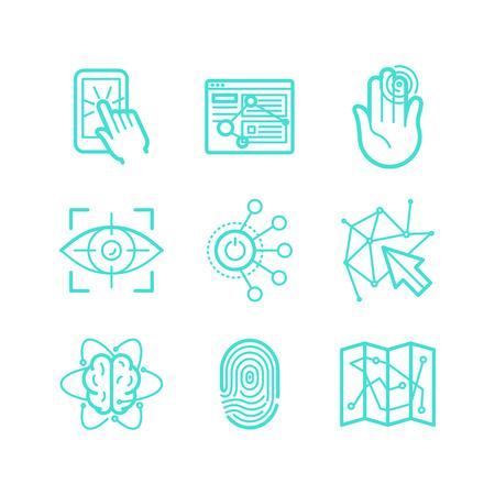 and future vision: Experiencia de usuario y usabilidad - - conjunto de iconos de estilo lineal trendy vector tecnologías futuras aplicaciones y signos interfaces y símbolos Vectores