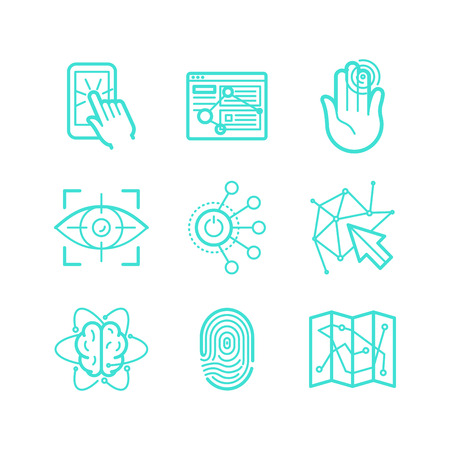 future technology: Vector set of icons in trendy linear style - user experience and usability - future technologies apps and interfaces signs and symbols