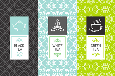 herbs: Vector conjunto de elementos de diseño y los iconos de estilo lineal de moda para el paquete de té - blanco, negro y el té verde