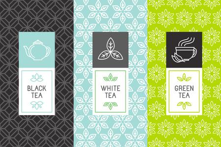 Wektor zestaw elementów projektu i ikony w stylu trendy pakietu liniowej herbaty - biała, czarna i zielona herbata