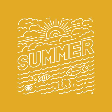 sol radiante: Vector cartel de verano y el diseño de la bandera en el moderno estilo lineal - letras e iconos