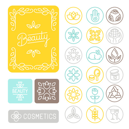 Vector conjunto de elementos lineales de diseño, emblemas e iconos para el diseño de envases para la belleza y cosmética - cuadros de flores; no probado en animales; sin gluten y reciclados Vectores